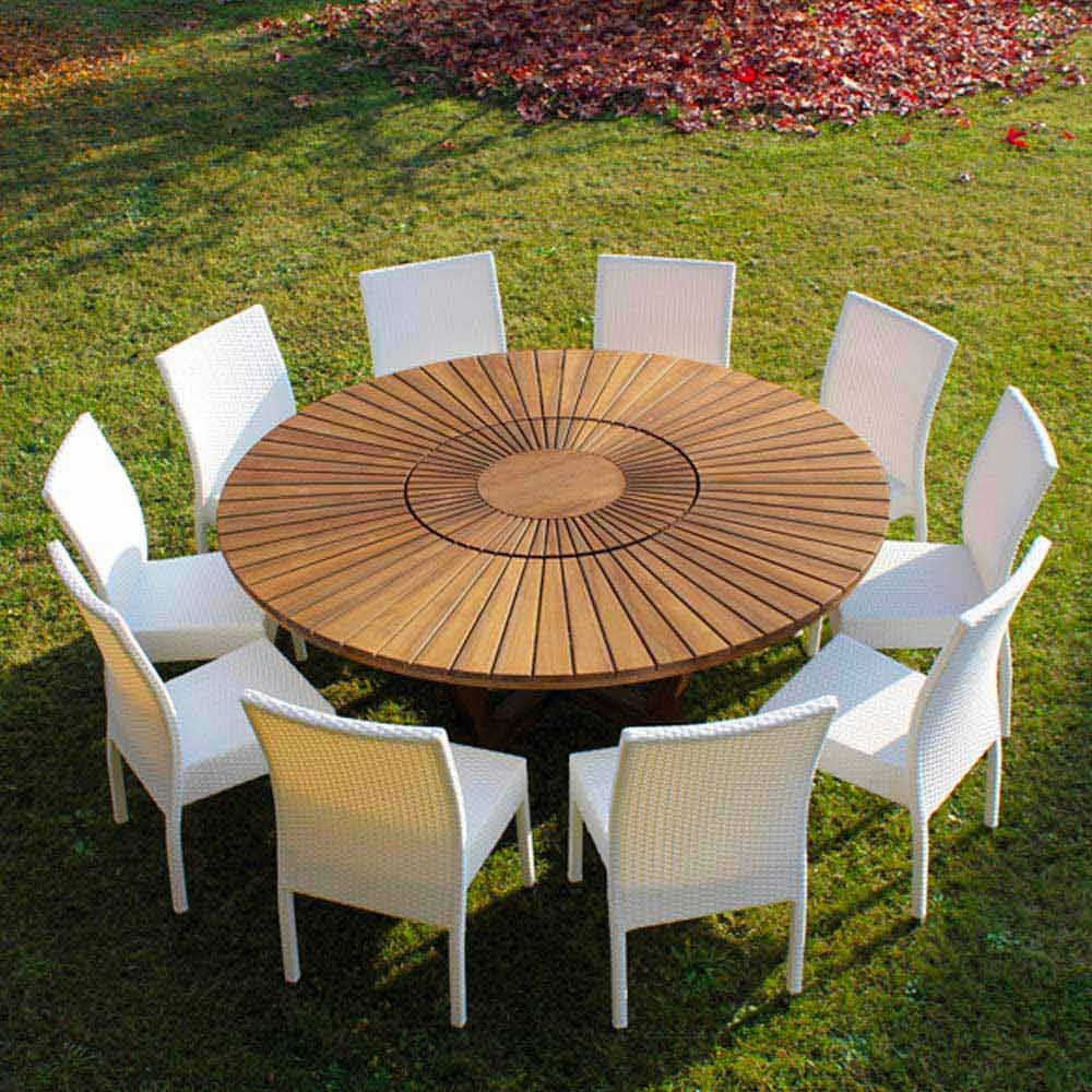 Gartentisch 8 Personen Tavolo Tondo In Teak E Massello Da Esterno Real Table