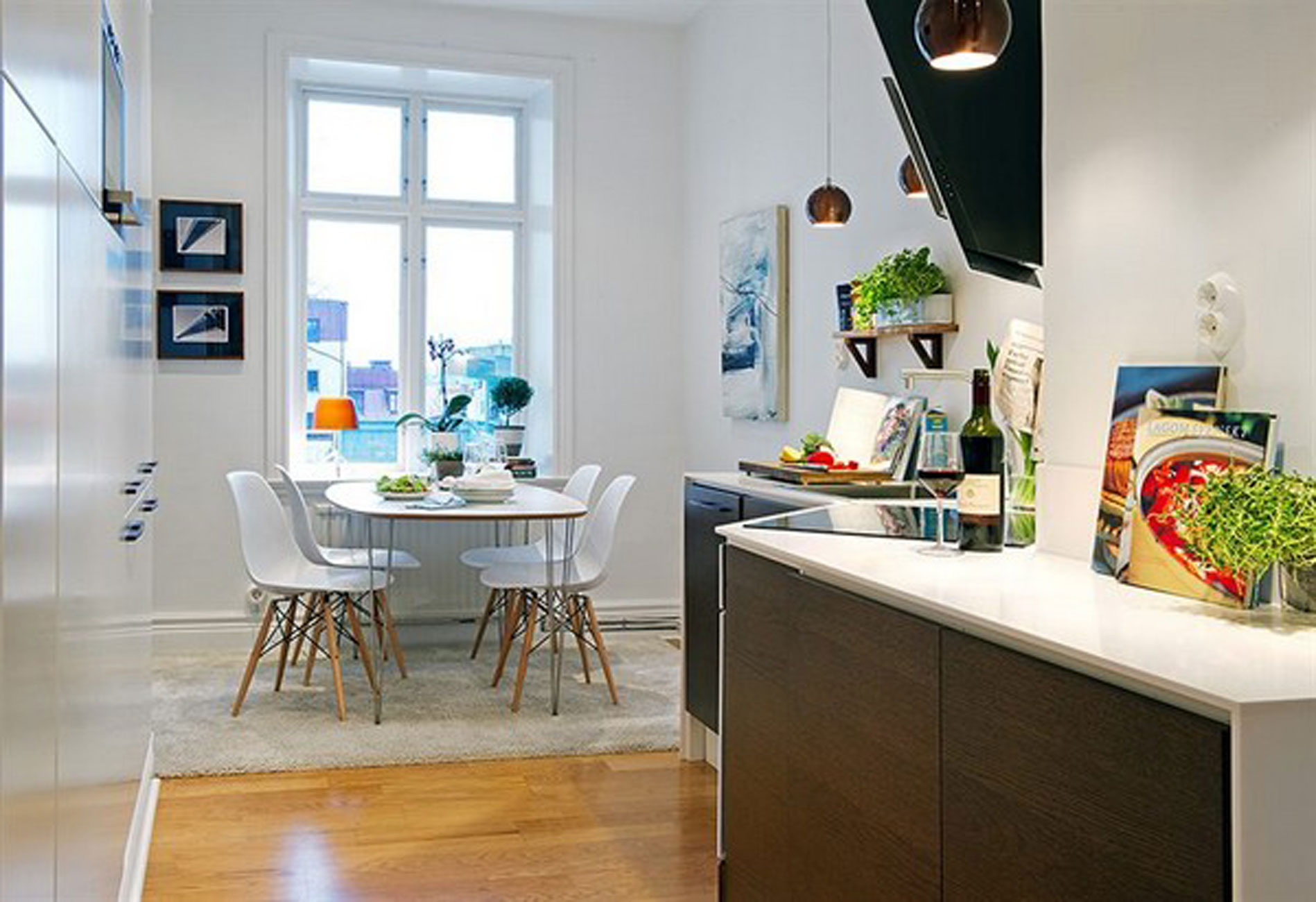 White Apartment Interior Ideas In Sweden Kitchen And Dining Table Viahouse Com