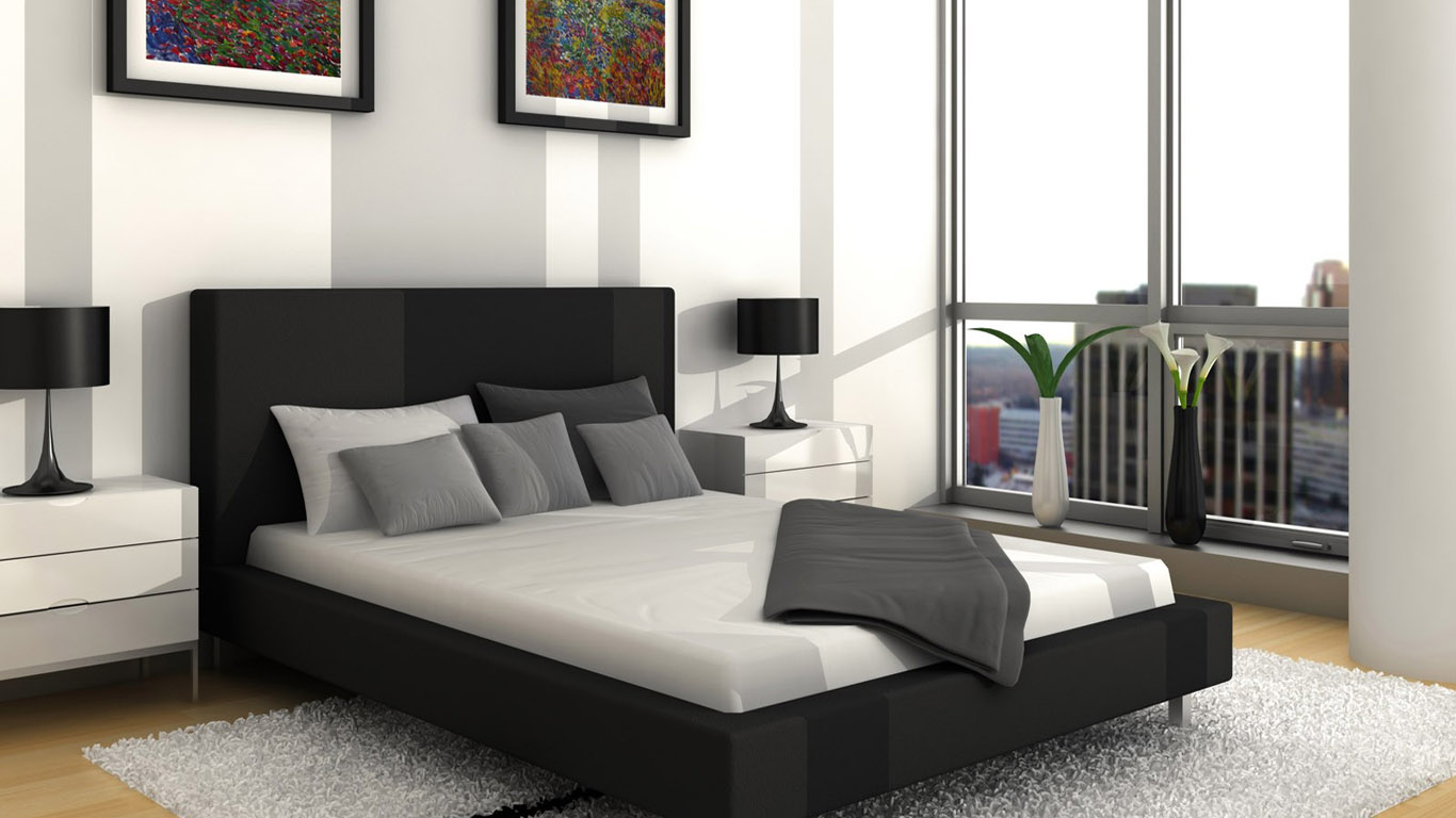 White Decoration Bedroom Luxurious Bedroom Design With Black Grey And White Color