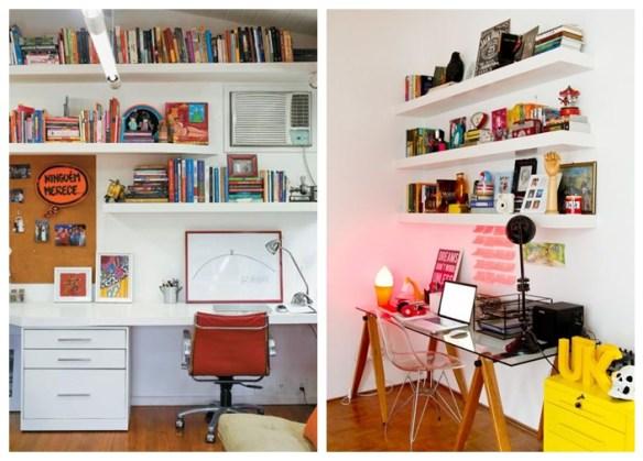 prateleiras embutidas home office escritorio ideias decoraçao