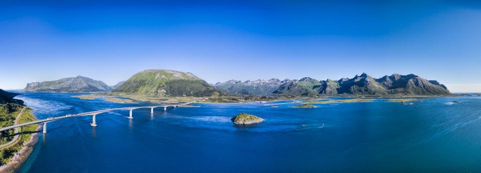 Massive bridge on Lofoten islands in Norway, scenic aerial panorama