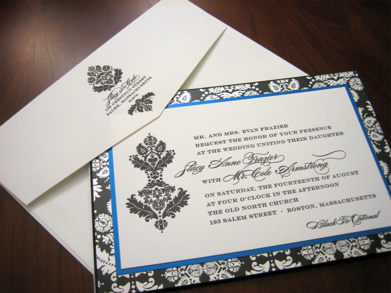 royal blue wedding invitation royal wedding invitation Blue Black Damask Wedding Invitation
