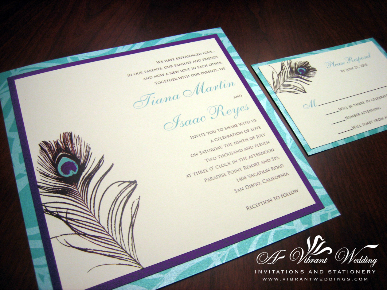 peacock feather wedding invitation royal wedding invitation Purple And Tiffany Blue Wedding Invitation With Peacock Feather Design