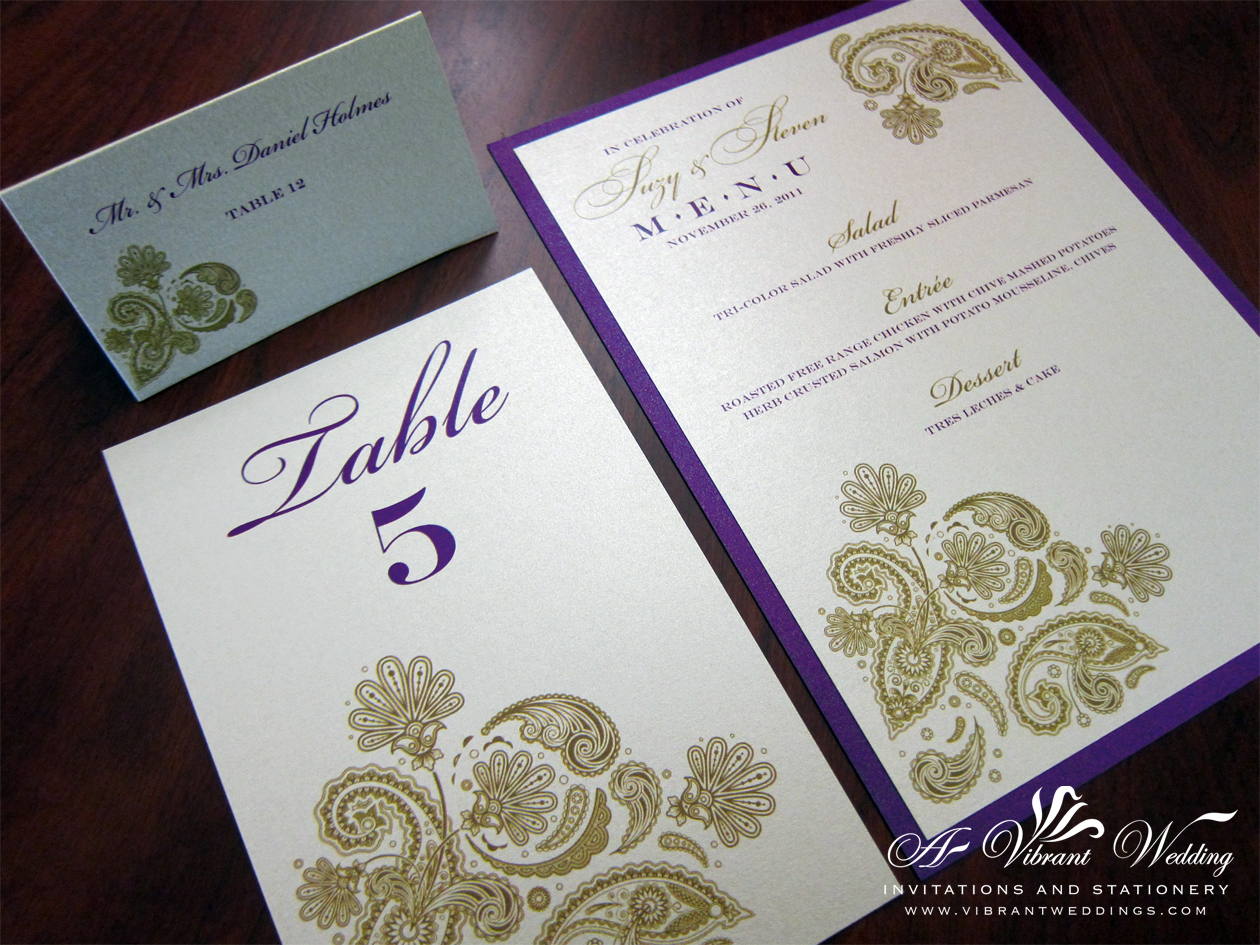 purple and gold wedding invitation purple and gold wedding Purple and Gold Wedding Menu with Paisley design