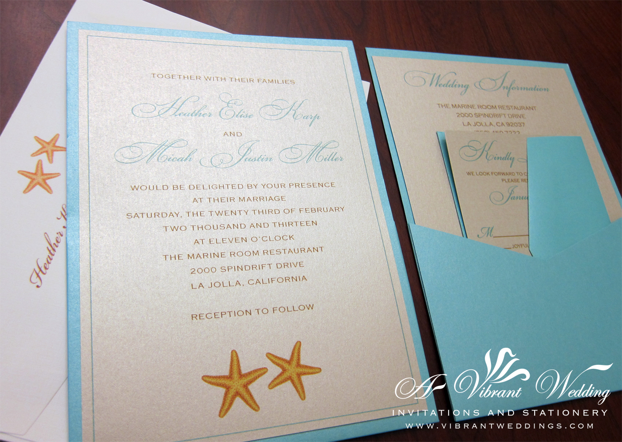 beach wedding invitation beach wedding invitations Starfish Wedding Invitation PocketCard Style Pocket is on the backside of the