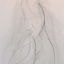 Turning Nude AC, 60 x 48 inches, charcoal on raw canvas