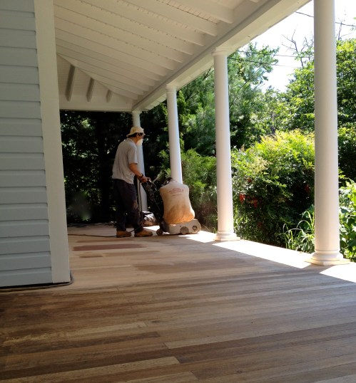 Sightly Sander Sanding A Deck Prior To Staining Diy Victorian Front Porch Restoration Front Porch Part Stain But Sanding A Deck Where We Sand