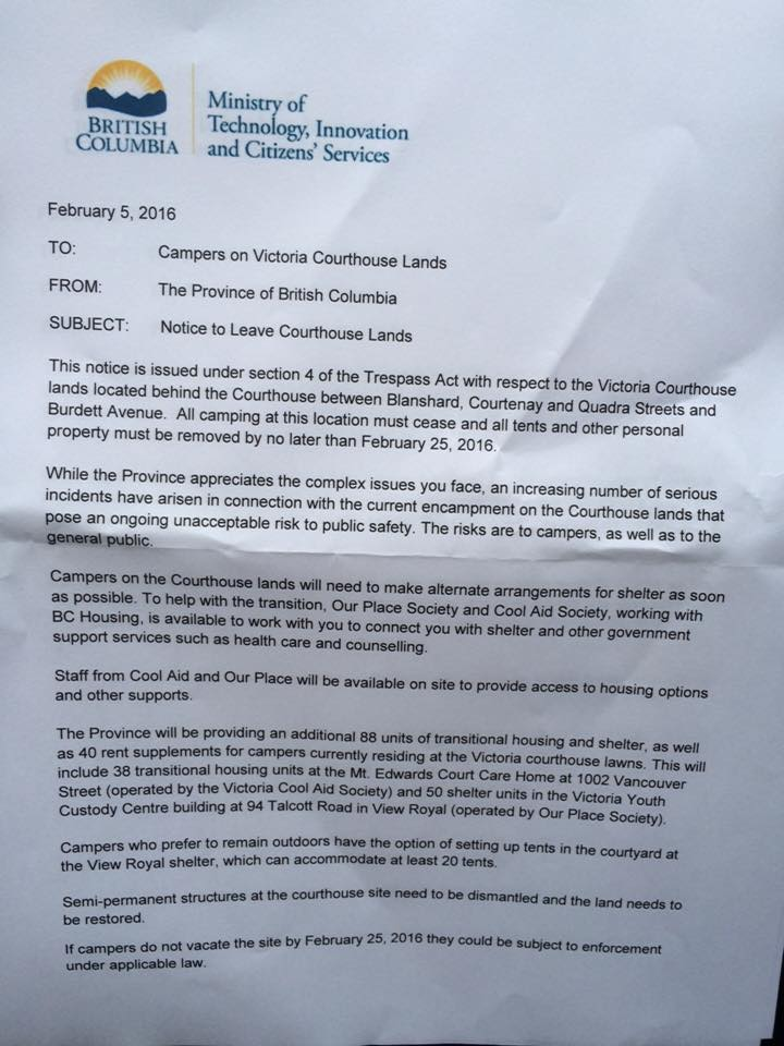 The eviction letter Victoria Courthouse campers received from the - how to make a eviction notice