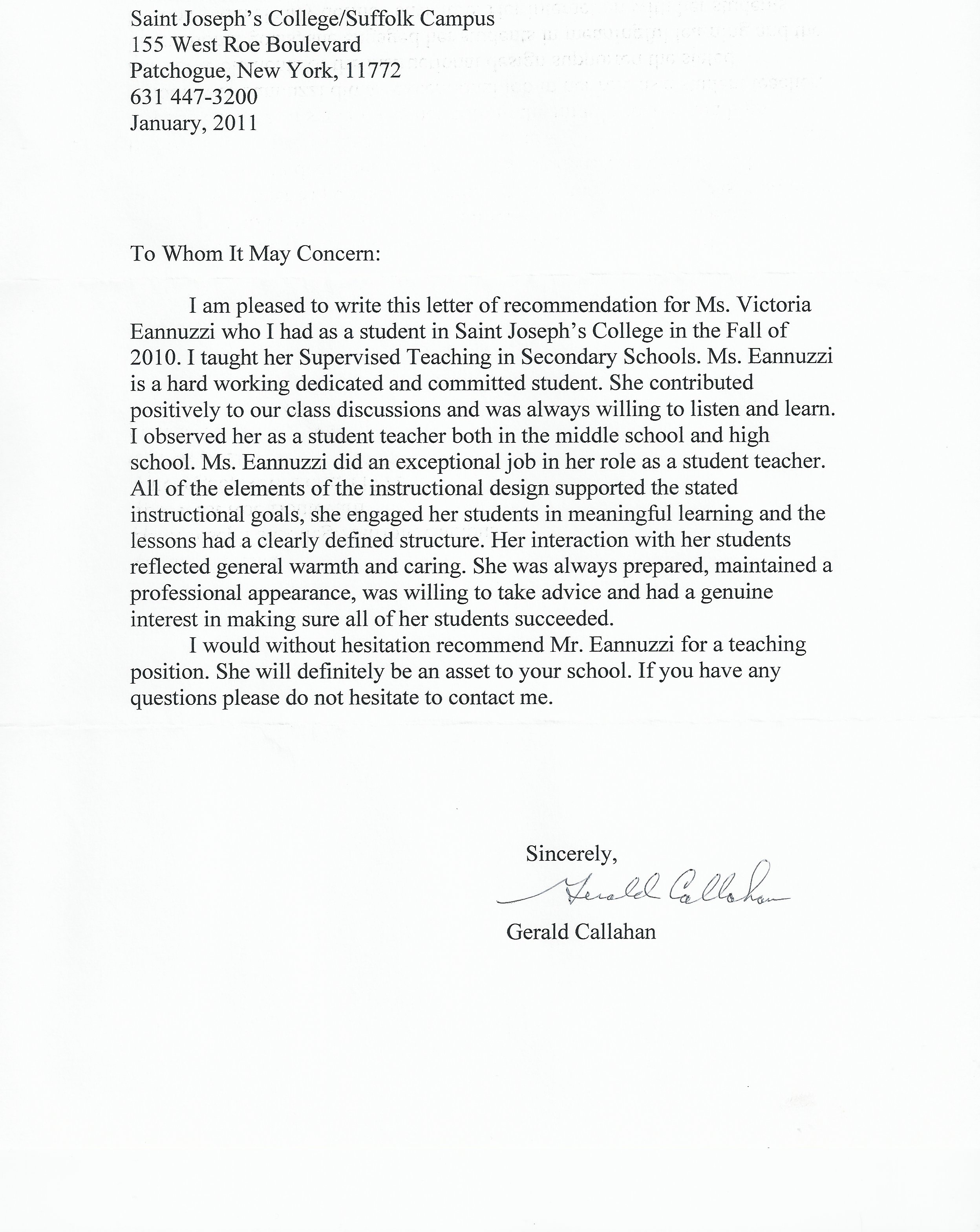 Sample Letter Of Recommendation For Coworker 5 Examples Victoria Anne Eannuzzi 171; My Teaching Portfolio
