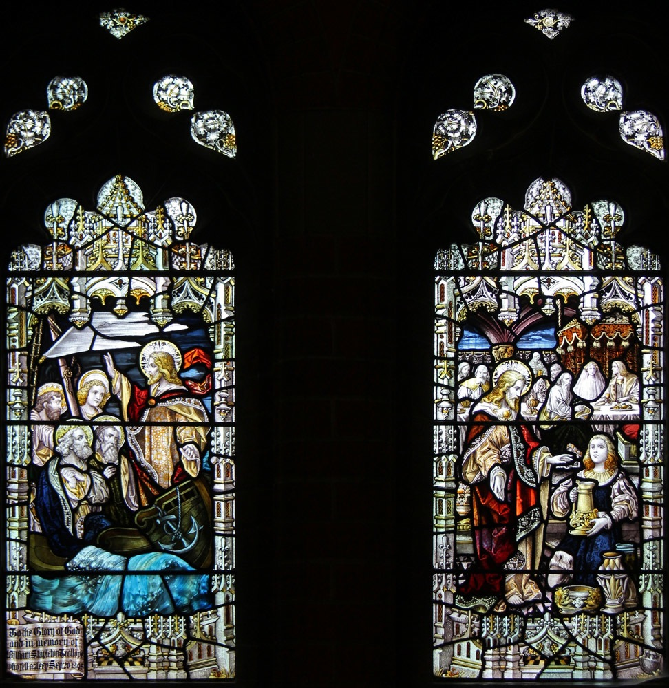 Cana Windows Jesus Stills The Waves Marriage At Cana At St Peter S Staines