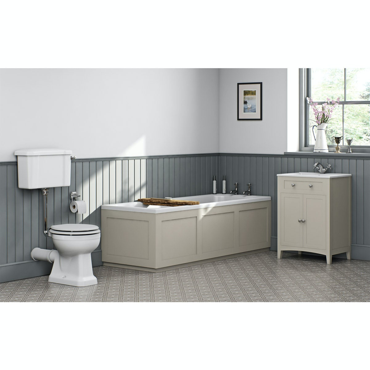 The bath co camberley ivory low level furniture suite with straight bath 1700 x 700mm