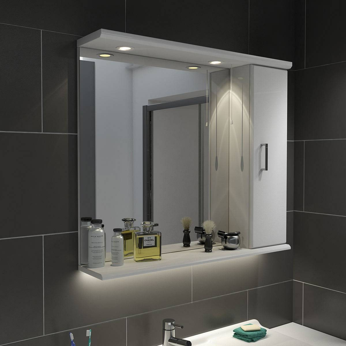 Bathroom Mirror Unit Sienna White 85 Mirror With Lights Victoriaplum