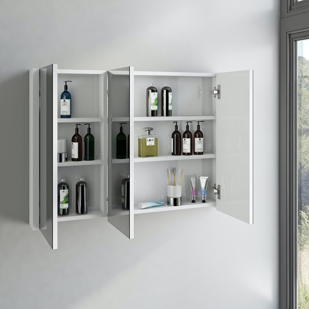 3 Door Mirrored Bathroom Cabinet Odessa White 3 Door Bathroom Mirror Cabinet Victoriaplum