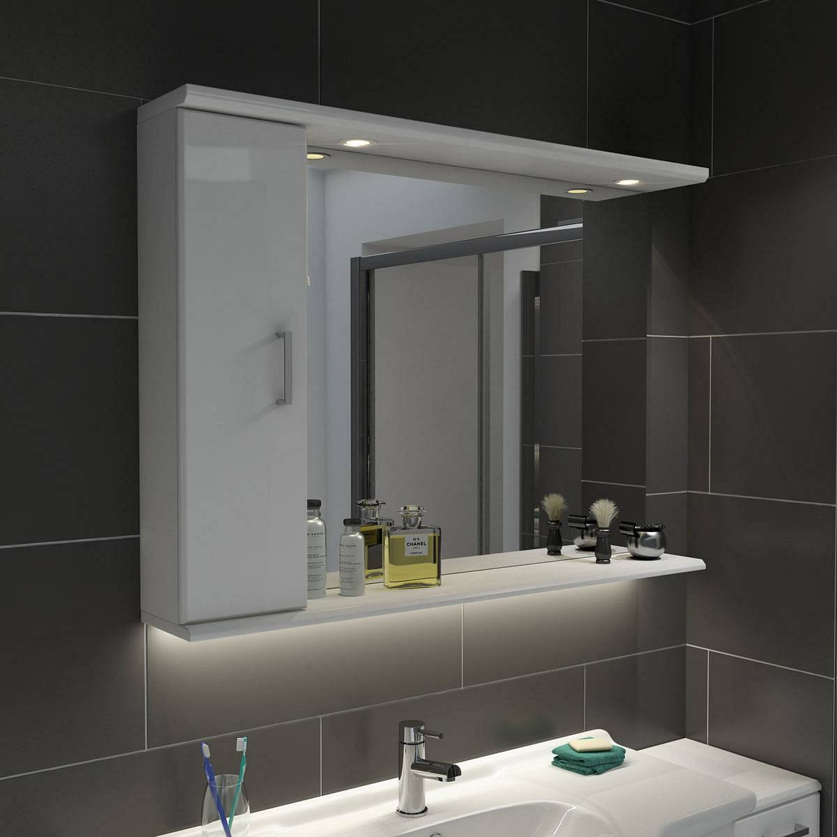 Bathroom Mirror Unit Sienna White 105 Mirror With Lights Victoriaplum