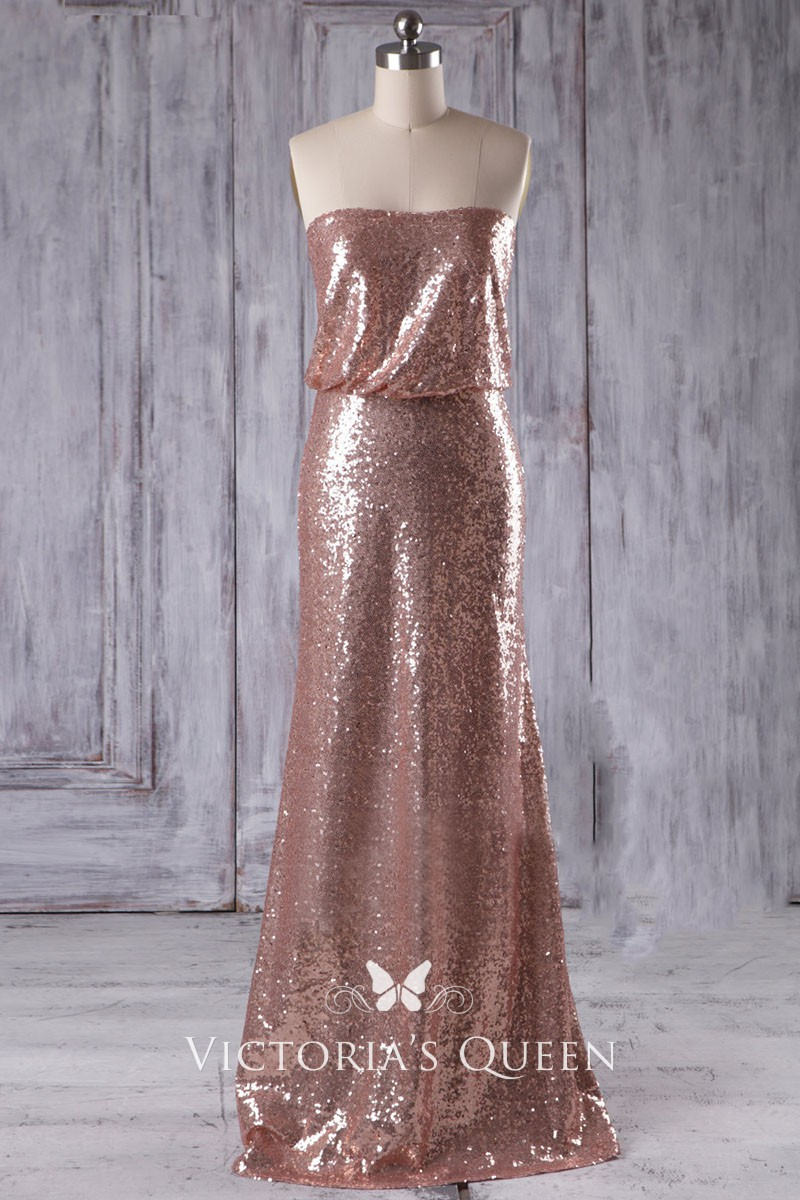Party Chic Chic Strapless Loose Bodice Rose Gold Sequin Fit And Flare Bridal Party Dress
