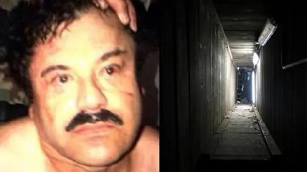 غوزمان حين اعتقاله قبل عام، والنفق الذي فر عبره السبت الماضي