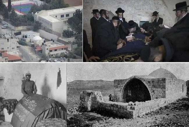 القبر من الداخل والمقام من الخارج، وكما كان قديما، ثم صورة الجندي العثماني يحرسه