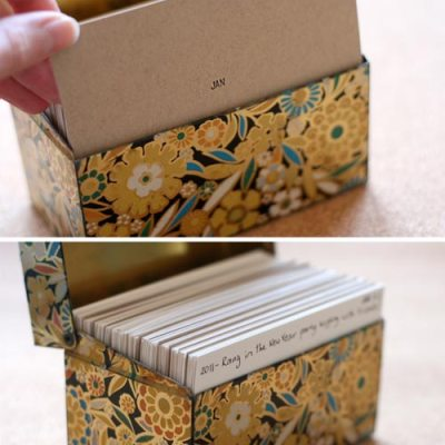 Agenda ou diário com fichas de papel