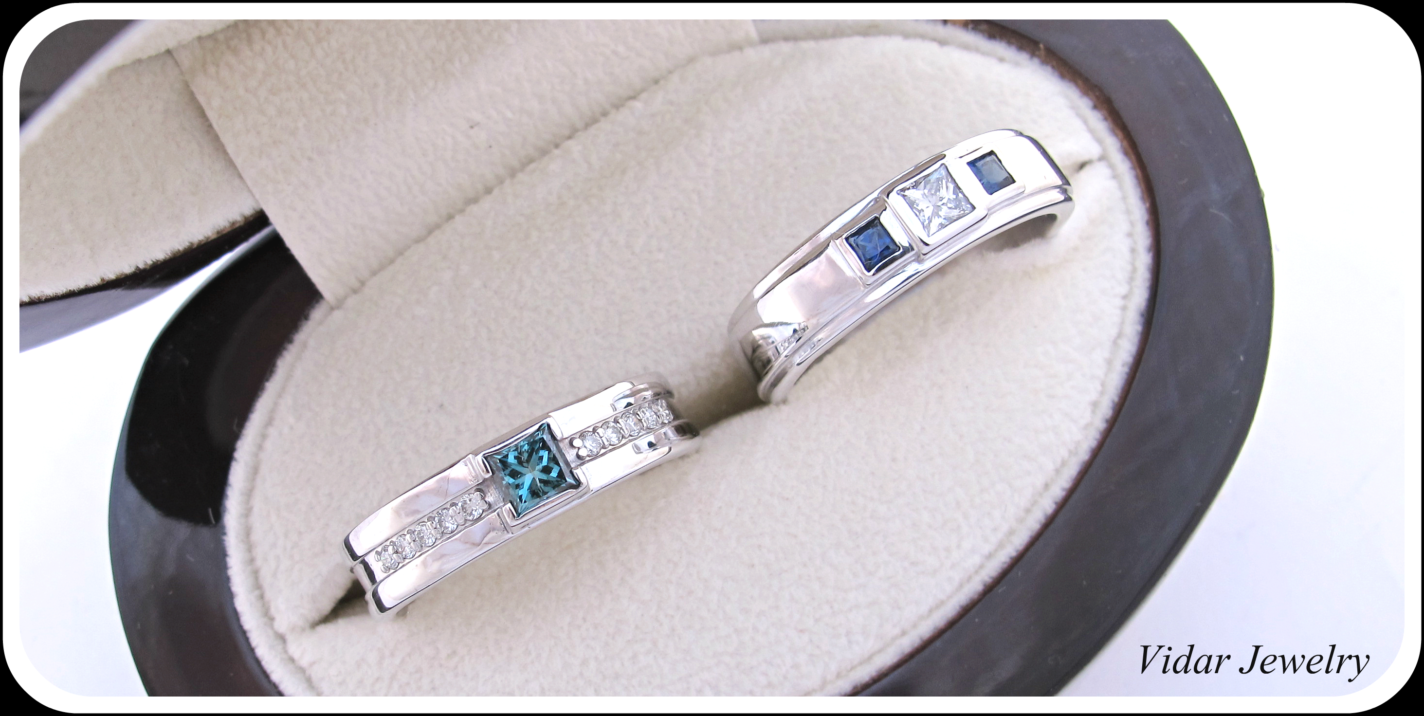 vidarjewelry sapphire mens wedding band His And Her Matching Blue Diamond Blue Sapphire Wedding Band Set