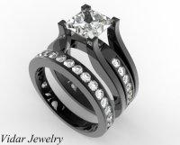 Princess Cut Diamond Wedding Ring Set In Black Gold Unique ...