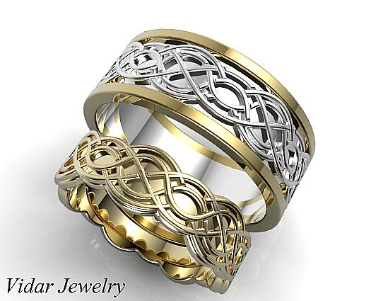 Unique Celtic Matching Wedding Ring Set
