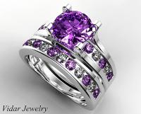 Amethyst Bridal Ring Set | Vidar Jewelry - Unique Custom ...