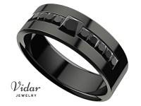 Men's Princess Black Diamond Black Gold Wedding Ring ...