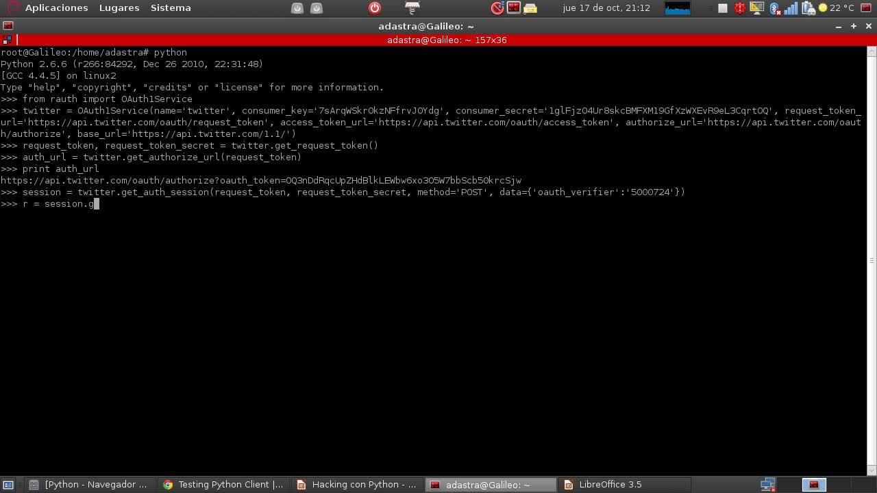 Hacking con Python Parte 16 – Twitter desde Python utilizando el protocolo OAuth