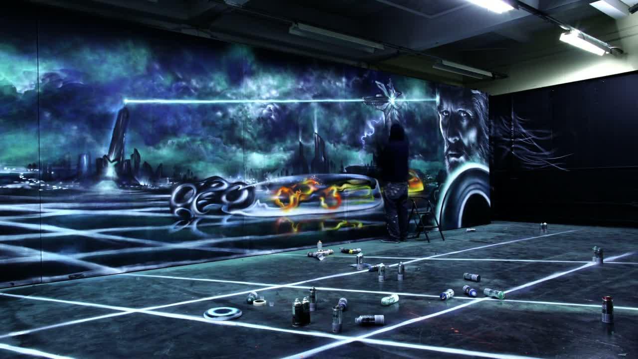Tron Legacy _ Aerosol Mural