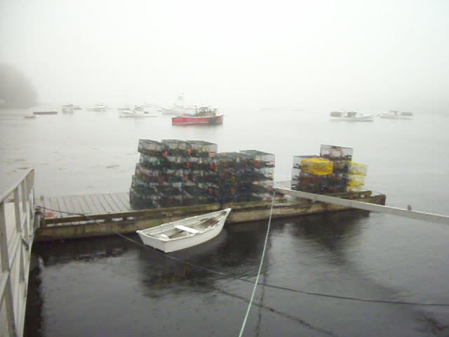 Rockport Harbor Fog Bank, Lobster Traps