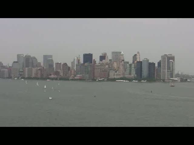Ellis Island and NYC skyline from the Statue of Liberty