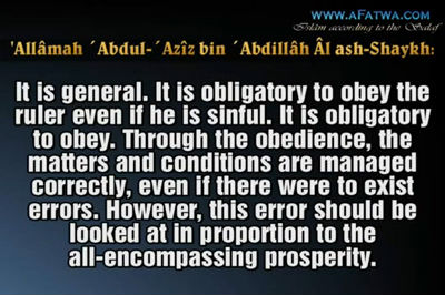 The Mufti of Saudi Arabia about al-Arifi's view of the injustice of the leader
