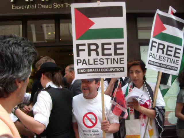 Anti-Israel demo. outside Ahava, London. 5th June 2010