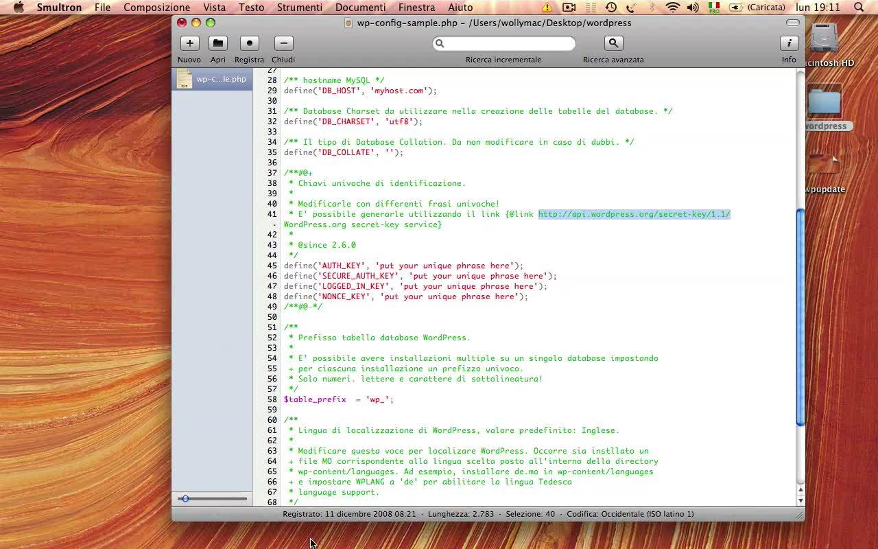 Creare il file wp-config.php