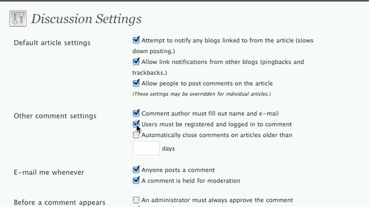 Setting your discussion settings