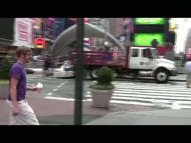 Victor gives hugs In Times Square 2