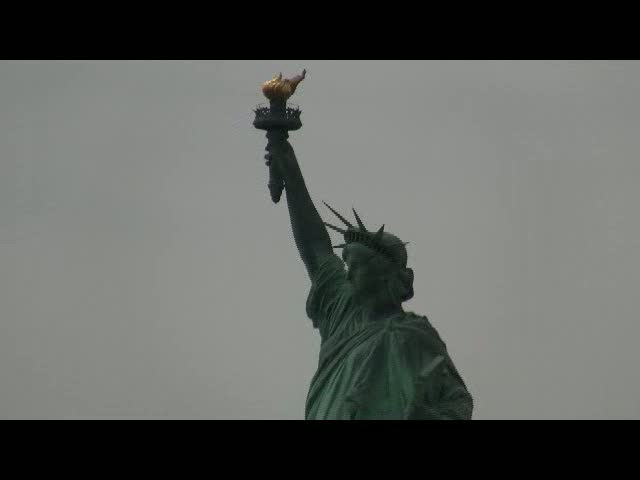 Close-up on the Statue of Liberty from the boat