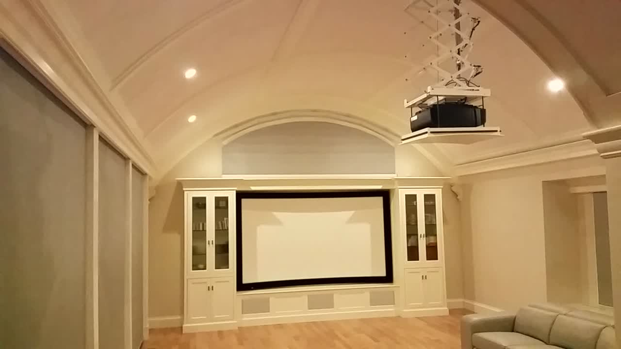 Curved theater window