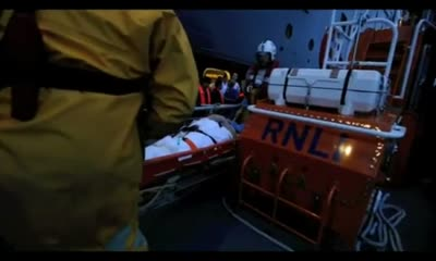 Torbay lifeboat assists sick passenger on board Queen Mary 2 –  video taken by RNLI crew Nigel Miillard