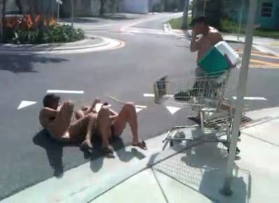 Drunk Girls Face-plant onto Hard Concrete from Shopping Cart