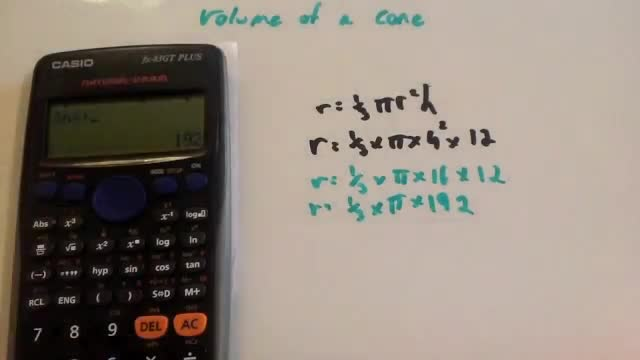 Volume of a Cone – Corbettmaths