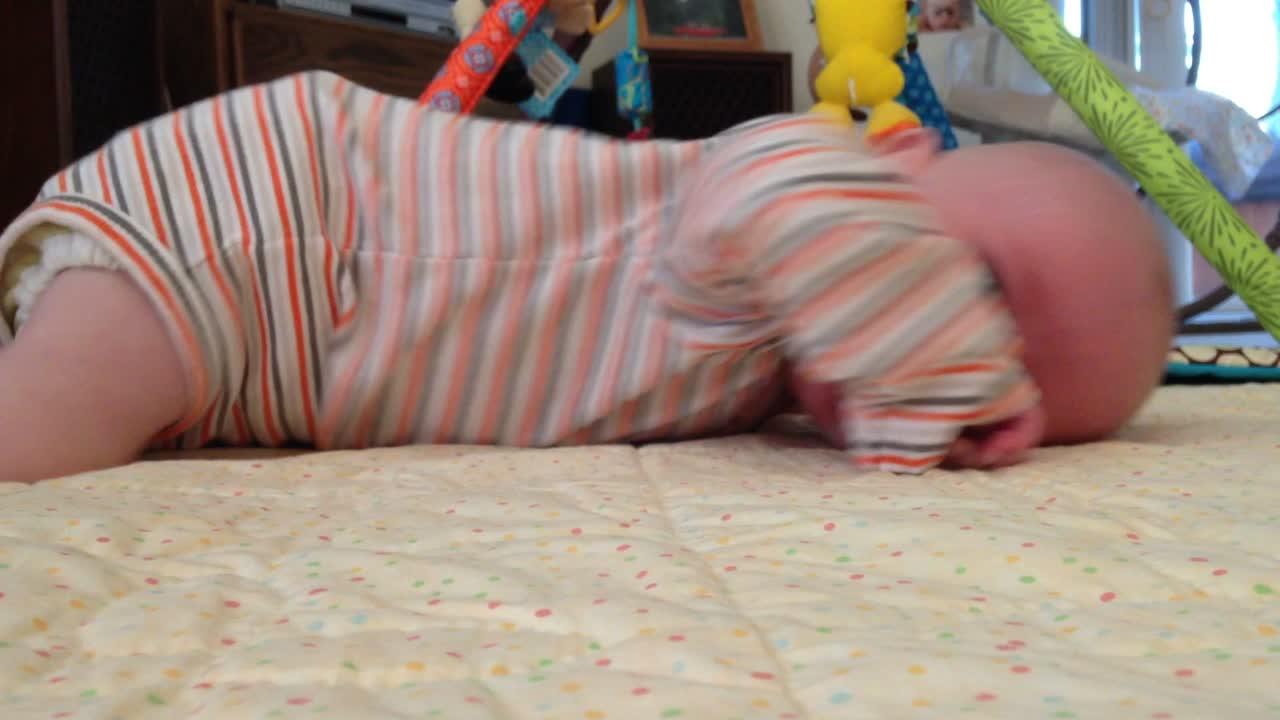 Tummy Scooting at 11.5 weeks old – November 11, 2014 – IMG_0122