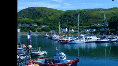 Mallaig Harbour with music played by Julian Lloyd Webber
