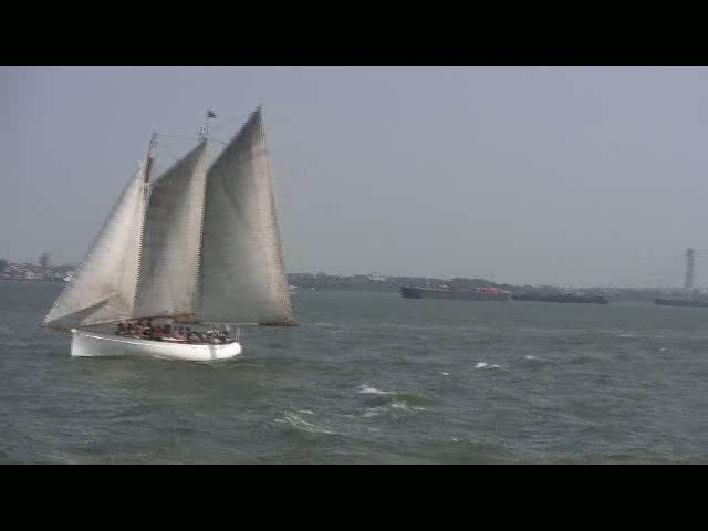 Chinese Junk sailing in the NY harbor