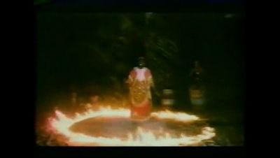 African shaman performing levitation