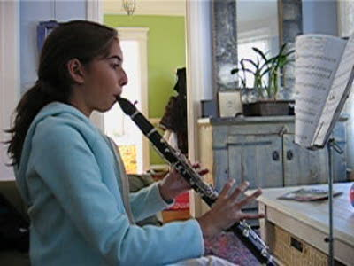 Eve Practicing her clarinet
