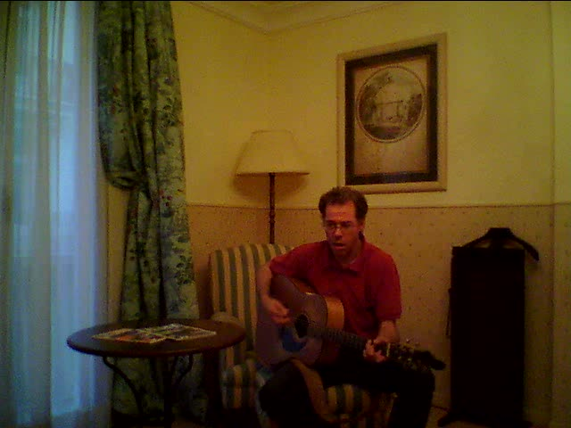 Singing Baby Blue in my hotel room in Valencia, Spain