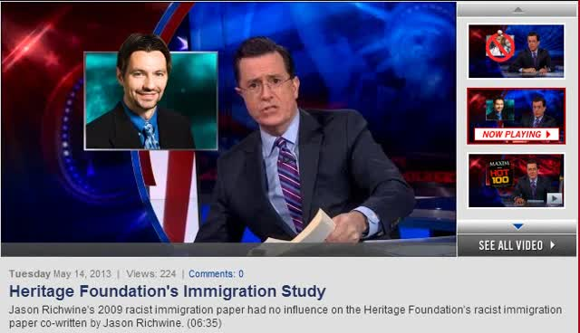 COLBERT REPOT – STEPHEN COLBERT ON HERITAGE FOUNDATION REPORT