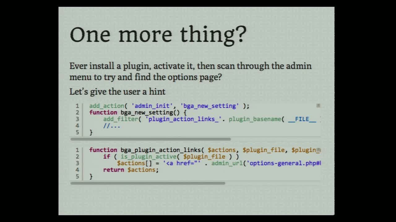 Kailey Lampert: Don't put that in functions.php! (Or, how to write a basic plugin)