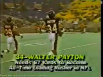 Walte Payton breaking Jim Brown's record